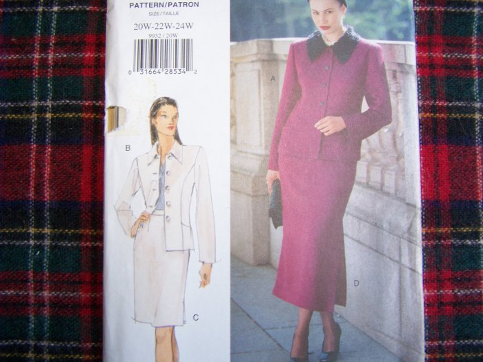 Womens Plus Size Vogue Mode Sewing Pattern Jacket Skirt Suit 20W 22W 24W