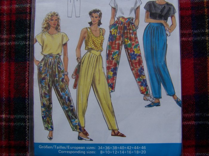 1990's Uncut Burda Super Easy Sewing Pattern 5157 Pants Yoke Elastic Waistband Tapered Leg Slacks