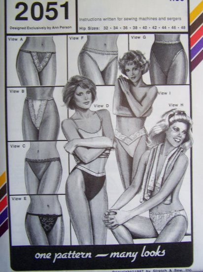 9 Vintage French Bikini Panty Patterns 2051 Sexy Lingerie Panties Hip 32 - 48