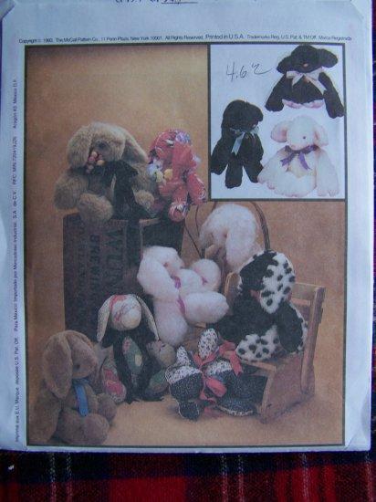 USA 1 Cent S&H McCalls' Carol's Zoo Easy Plush Stuffed Teddy Bear Rabbit Lamb Sewing Pattern 6907