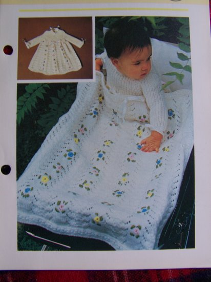 1 Cent USA S&H Vintage Baby Blanket Afghan and Long Sleeve Floral Dress Knitting Patterns