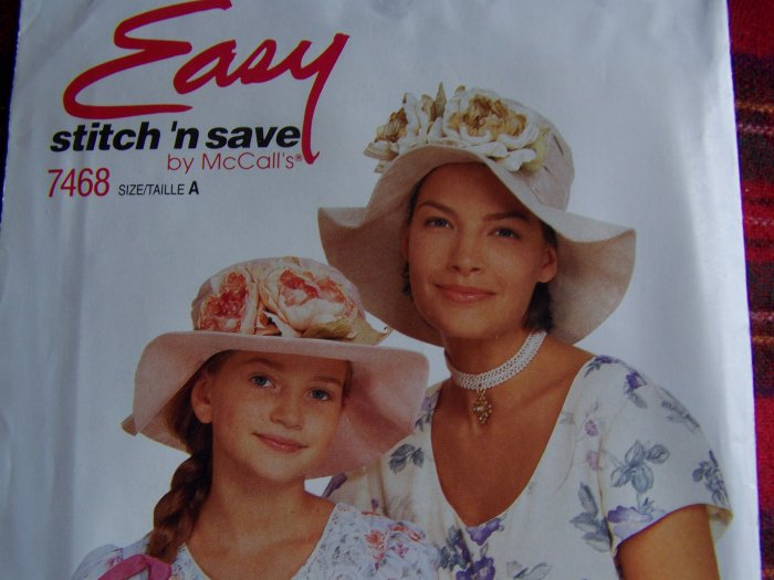 USA 1 Cent S&H McCall's Misses & Girls Hat Chapeau Stitch N Save 7468
