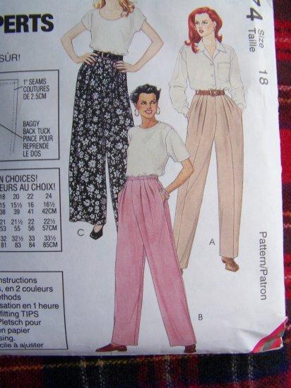Misses 1 Hour Pants That Fit Sz 18 Sewing Pattern 7174 Palmer Pletsch