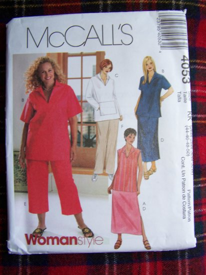McCall's Plus Size Sewing Pattern 4053 Womens Top Skirt 2 Length Pants 26 28 30 32W