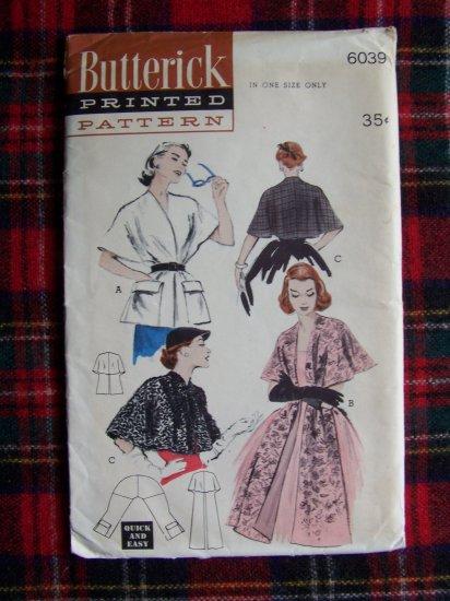 50's Uncut 6039 Vintage Sewing Pattern Quick Easy Stoles Capes Wrap Stole Cape