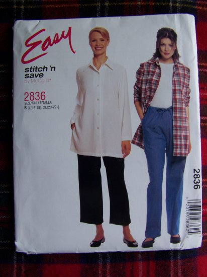 McCall's Sewing Pattern 2836 Misses L XL Long Sleeve Button SHirt Pull on Pants Drawstring Waist