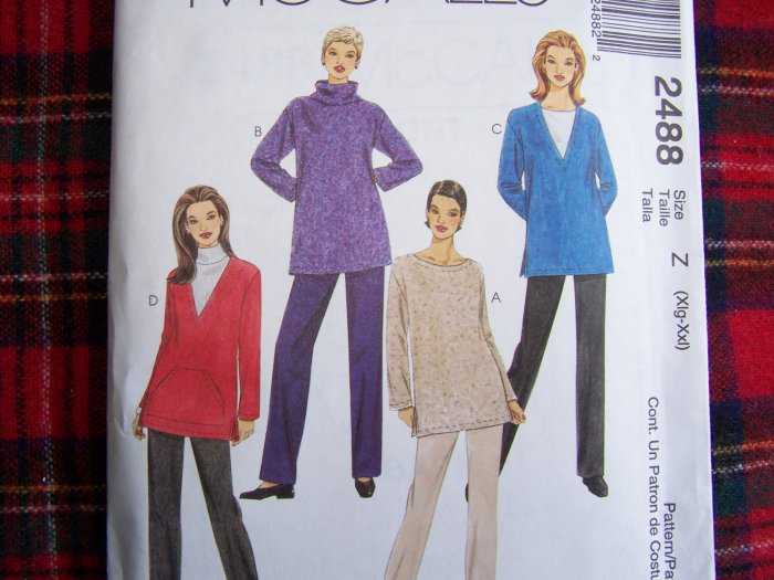 McCalls XL XXL Loose Tunic Tops Elastic Pants 2488 Sewing Pattern Plus Size 20 22 24 26