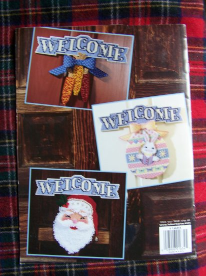 Plastic Canvas Patterns Holiday Welcome Door Signs Santa Pumpkin Pattern