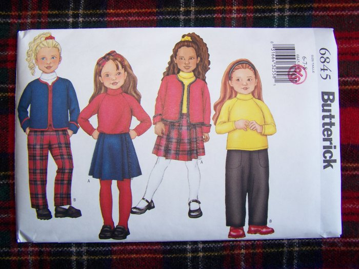 CHildren's 6 7 8 Jacket Top SKirt Tapered Elastic Pants Sewing Pattern 6845