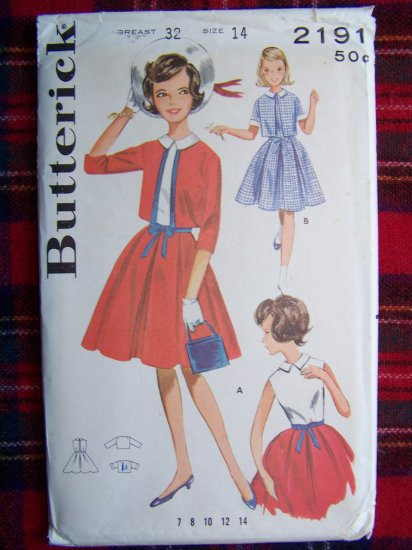 Uncut Vintage Girls Sz 14 Dress & Jacket Party Frock Butterick Sewing Pattern 2191