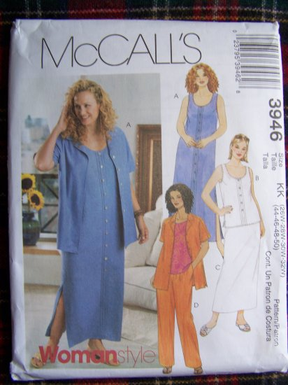 McCall's Woman Style Sewing Pattern 3946 Shirt Dress Top Pants Skirt 26W 28W 30W 32W