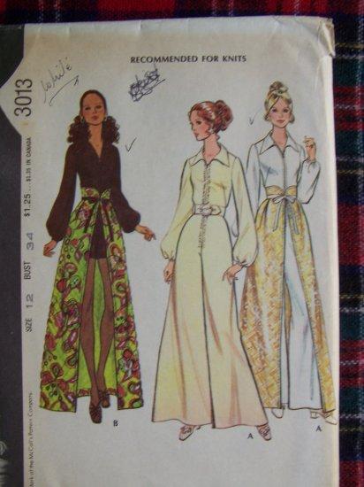 Vintage 70's Hippie Jumpsuit Open Front Wrap Skirt Sz 12 Sewing Pattern 3013