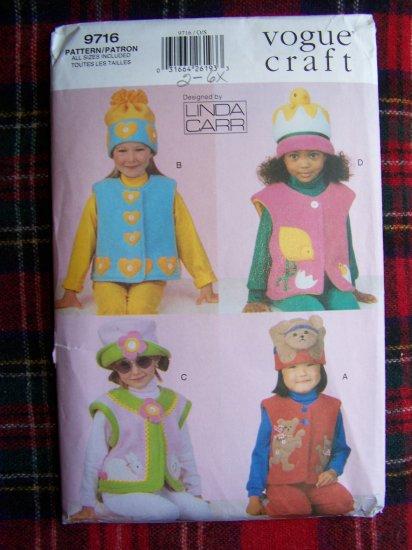 Vogue Children's Applique Sewing Pattern 9716 Winter Fleece Vests & Hats Sz 2 3 4 5 6 6X