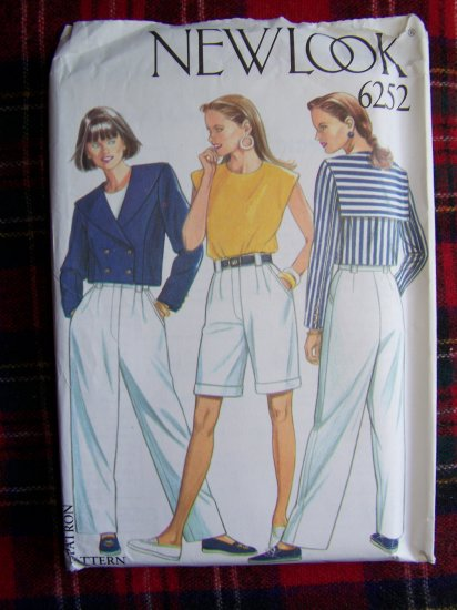 Misses Military or Sailor Waist Jacket Belted Shorts Pants Sewing Pattern 6252