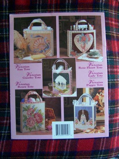 5 Annie's Attic Victorian Tote Bags Purses Plastic Canvas Patterns 1990s