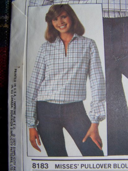 USA 1 C S&H Vintage Sewing Pattern 8183 Blouson Pullover Top Long Sleeve Shirt 8 10