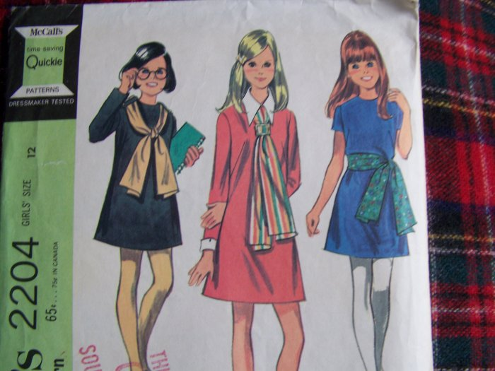 USA 1 Cent S&H Vintage Girls 12 A Line Dress & Scarf Tie 1960s Sewing Pattern 2204