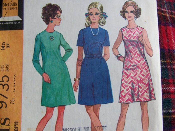 Misses Vintage Sewing Pattern 9735 A Line Dress Zipper Sleeve Half Size 14.5