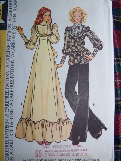 70's Victorian Empire Ruffle Maxi Dress Tunic Top Pants Vintage Sewing Pattern 4249