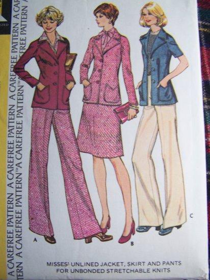 70's Vintage Suit Jacket Elastic Waist Skirt Pants McCall's Sewing Pattern 4271