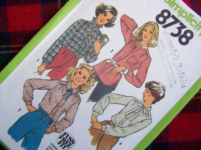 1970's Vintage Set of Long Sleeve Shirts Blouse Sz 12 Sewing Patterns 8738