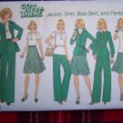 Vintage Misses Wardrobe Sewing Pattern 7070 Unlined Suit Jacket Shirt Bias SKirt Pants