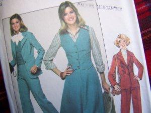 Misses Vintage Sewing Pattern 8155 Pants Skirt Suit Unlined Blazer Jacket Vest Bust 32 1/2
