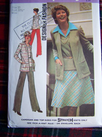 Misses Vintage 70's Suit Set Sewing Pattern 6516 Cardigan Jacket Top Pants Bias Skirt