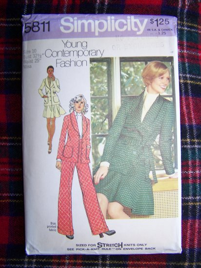 Misses 10 Sewing Pattern 5811 Suit Unlined Blazer Jacket Short Skirt Pants