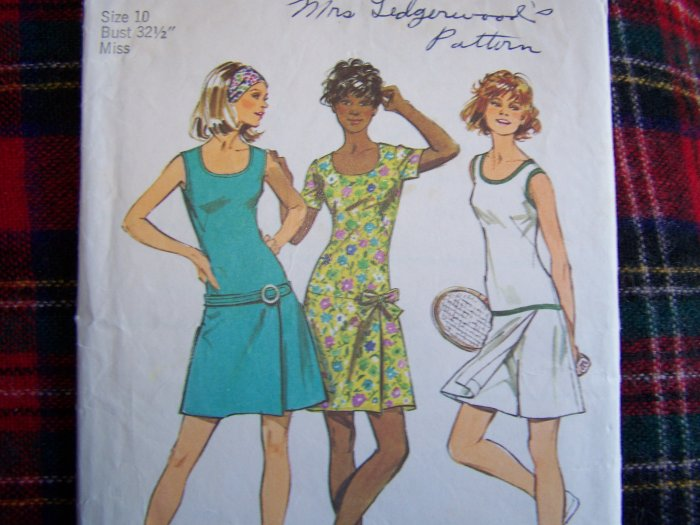 Vintage Mini Tennis Dress Pantdress Sz 10 Romper Sewing Pattern 9989