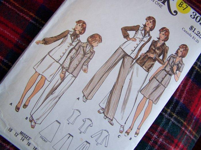 Vintage Sewing Pattern 3091 Sz 10 Misses Suit Tunic Top Short or Maxi Skirt Pants