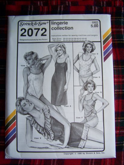 Vintage Lingerie Collection Sewing Pattern 2072 Camisole Teddy Bikini Panties SLip