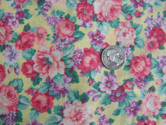 Vintage Cotton Fabric Quilting Pink Roses On Yellow Ground Joan Kessler Quilt Print