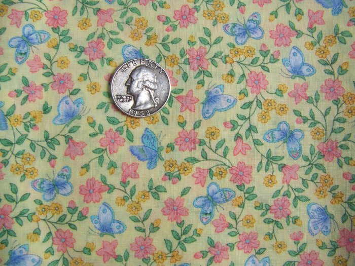 Vintage Butterfly & Small Floral Cotton Print Fabric Quilting Material