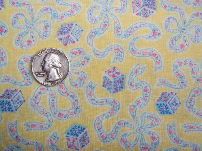 Vintage Quilt Cotton Sewing Fabric Yellow With Ribbons and Bows Tiny Pink Flowers Quilting Material