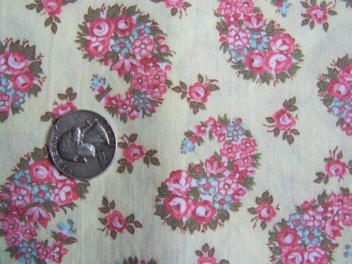 Cotton Quilting Fabric Pink Paisley Roses Floral Print Vintage 1980's QUilt Shop