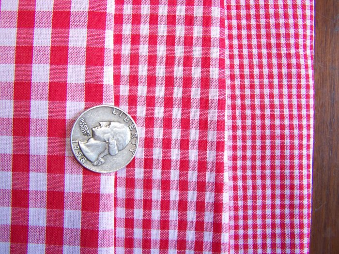 Gingham Check Red and White Cotton Fabric Craft Squares Lot