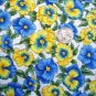 Vintage Pansies Holly Tea Cotton Screen Print Floral Pansy Garden 1 3/4 Yard