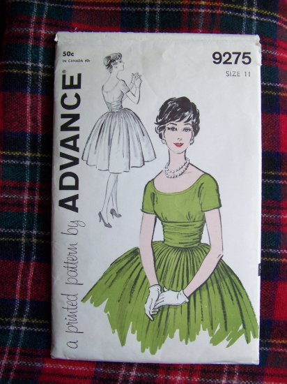 Vintage 50's Cocktail Dress Full Skirt Party Frock Sewing Pattern 9275