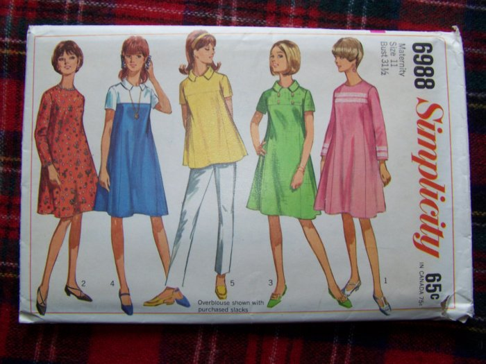 Vintage 60's Maternity Sewing Pattern 6988 Tent Dress Swing Over Blouse