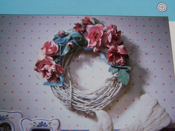 50 Cent USA S&H  Creat Ribbons and Roses Wreath with Fine Porcelain China Look