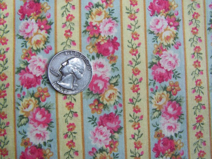 New Vintage Kessler Cotton Fabric Floral Rose Ticking Golden Yellow Quilting