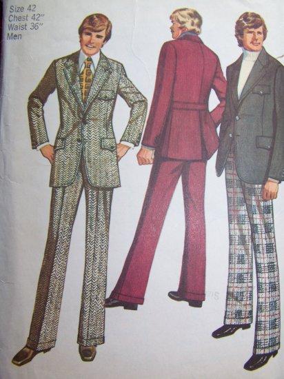 Mens Vintage 1970's Disco Dress Suit 42 Chest Sewing Pattern 5161