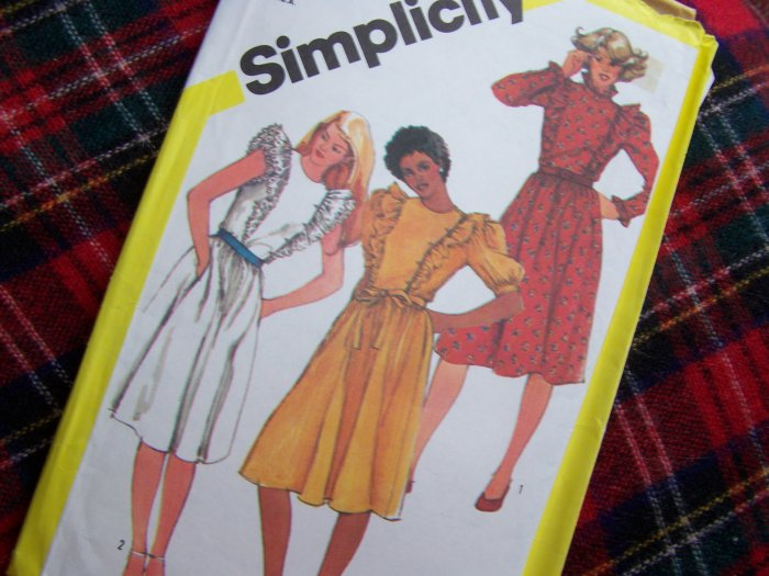 80's Vintage Sewing Pattern 5787 Pullover Dress Ruffled Bodice Puffy Sleeves