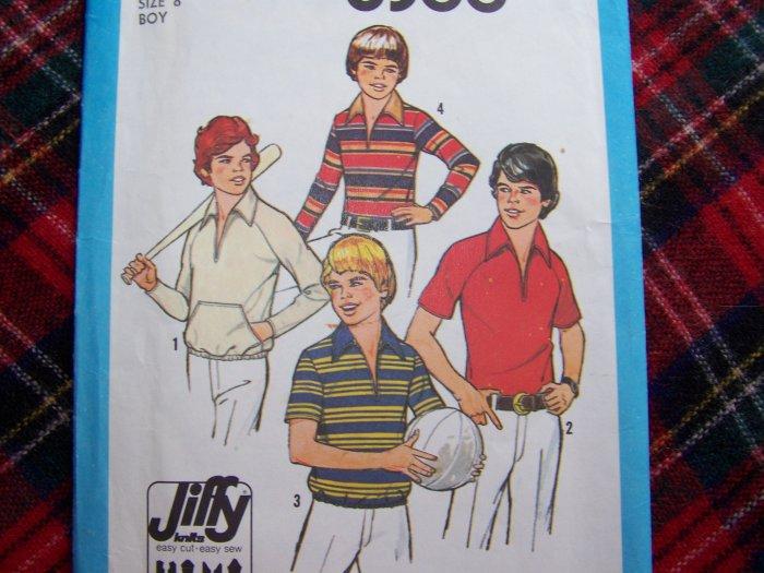 70's Boys Vintage Sewing Pattern 8366 Hippie Shirts Sz 8 Brady Bunch Style