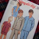 1960's Vintage Boys Sz 12 Sewing Pattern Pajamas Pants Shorts Shirt Long or Short Sleeves 7399