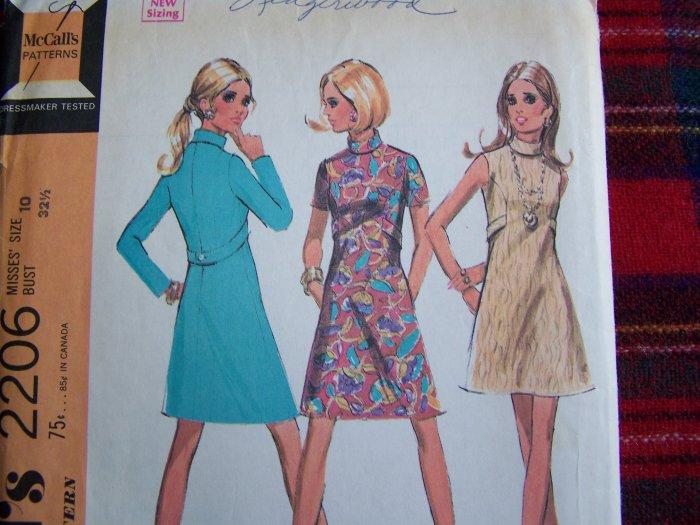 60's Vintage Dress Bias Roll High Collar Curved Seams Mini Knee Length Sewing Pattern 2206