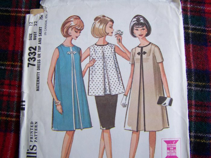 1960's Vintage Maternity Dress Top Stretch Panel Skirt Sz 12 Sewing Pattern 7332