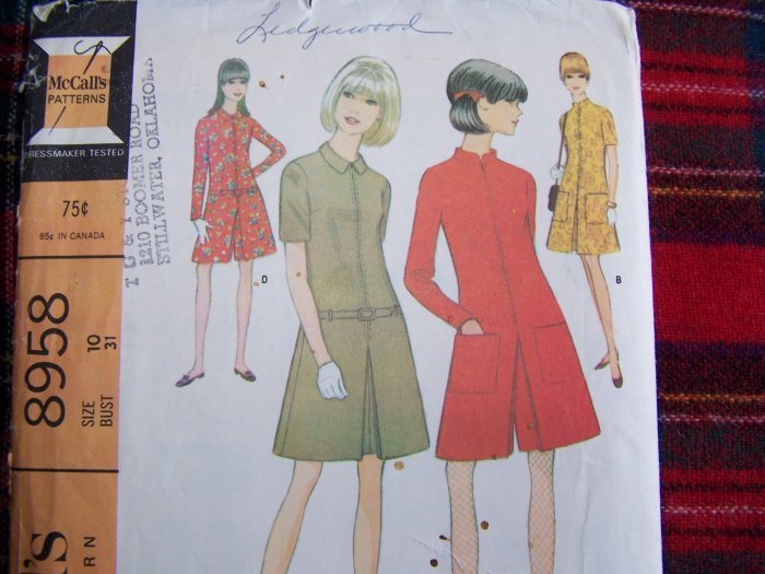 60's Vintage Sewing Pattern 8958 Four Section Dress or Pantdress Sz 10