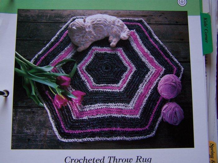 50 Cent USA Shipping Crocheted Throw Rag Rug Hexagon Shape Crochet Pattern